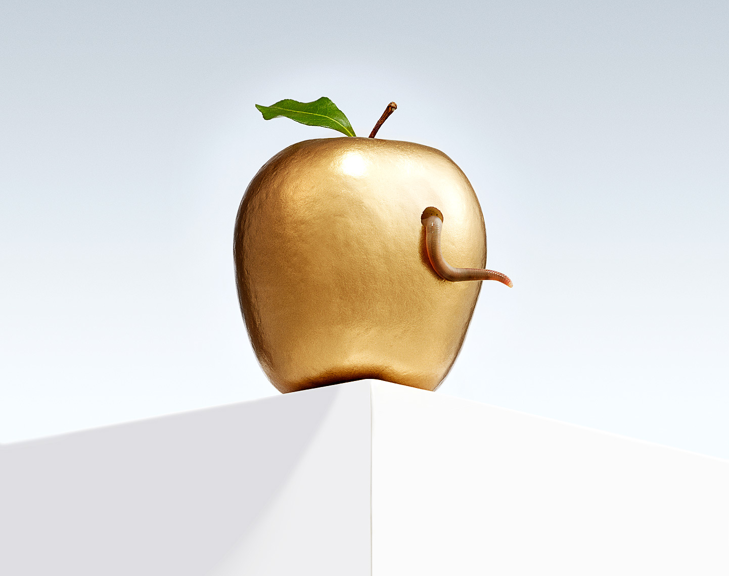 One bad apple with worm conceptual photo by John Kuczala