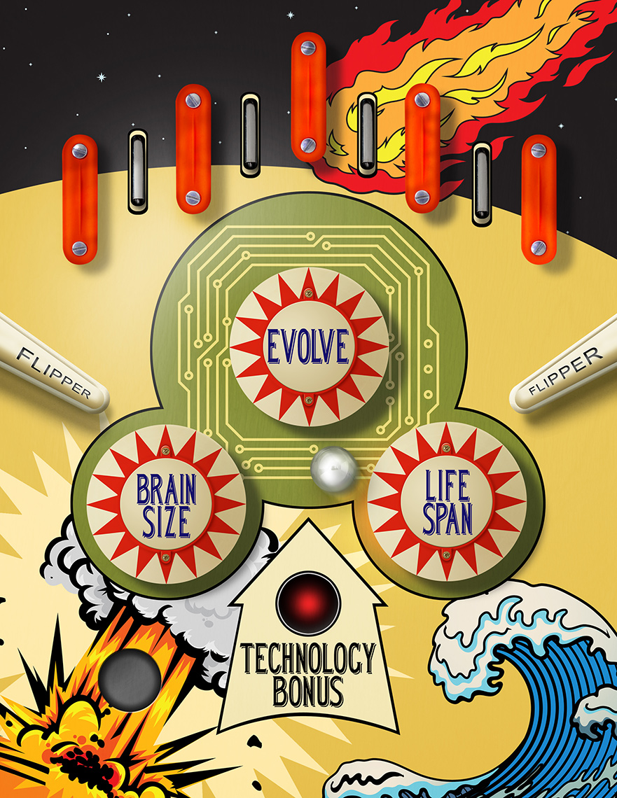 Evolution effects pinball photo-illustration by John Kuczala