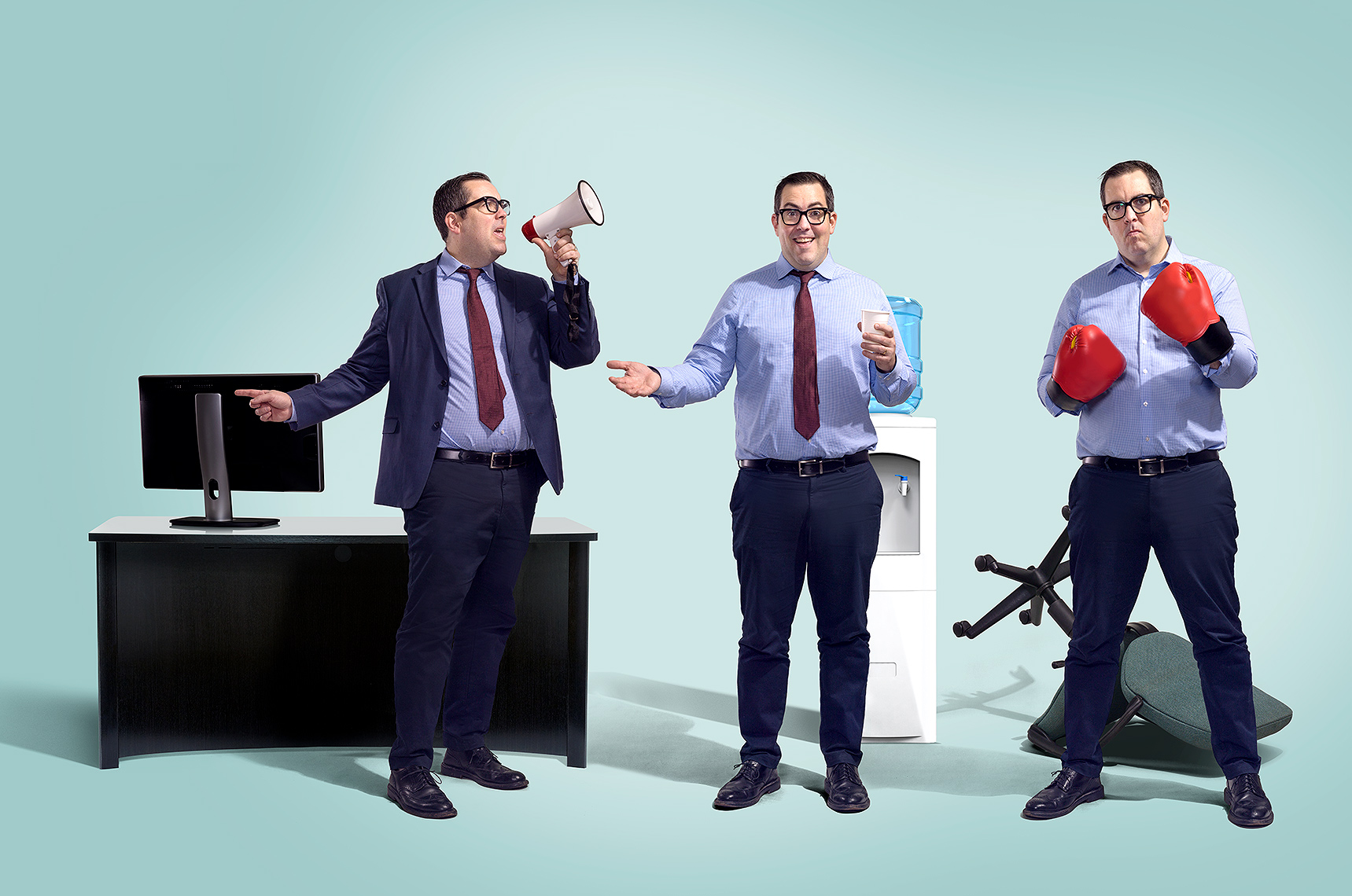 Office boss types conceptual photography by John Kuczala