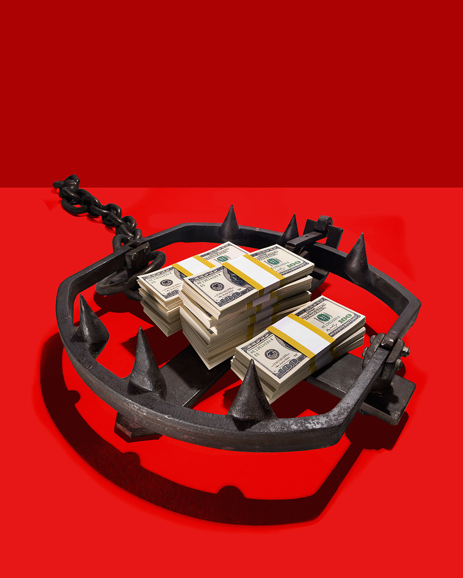 Bear trap baited with money photo-Illustration by John Kuczala