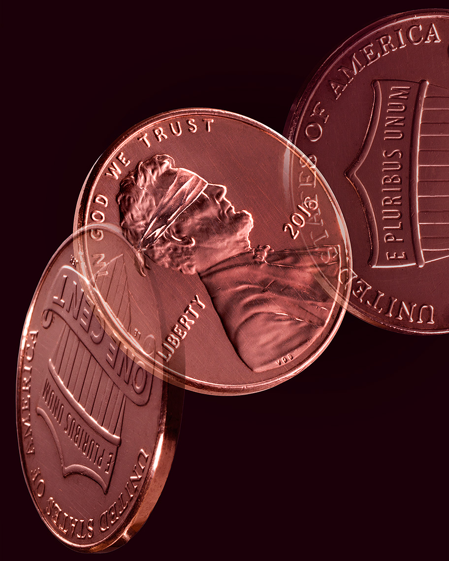 Lincoln blindfolded on penny photo-Illustration by John Kuczala