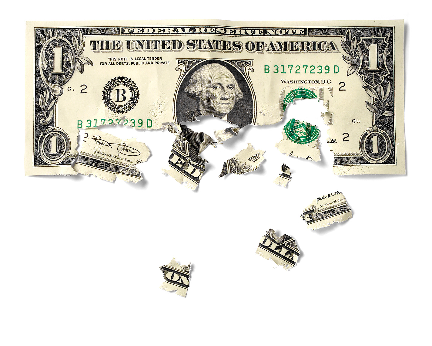 Disintegrating dollar bill photo-illustration by John Kuczala