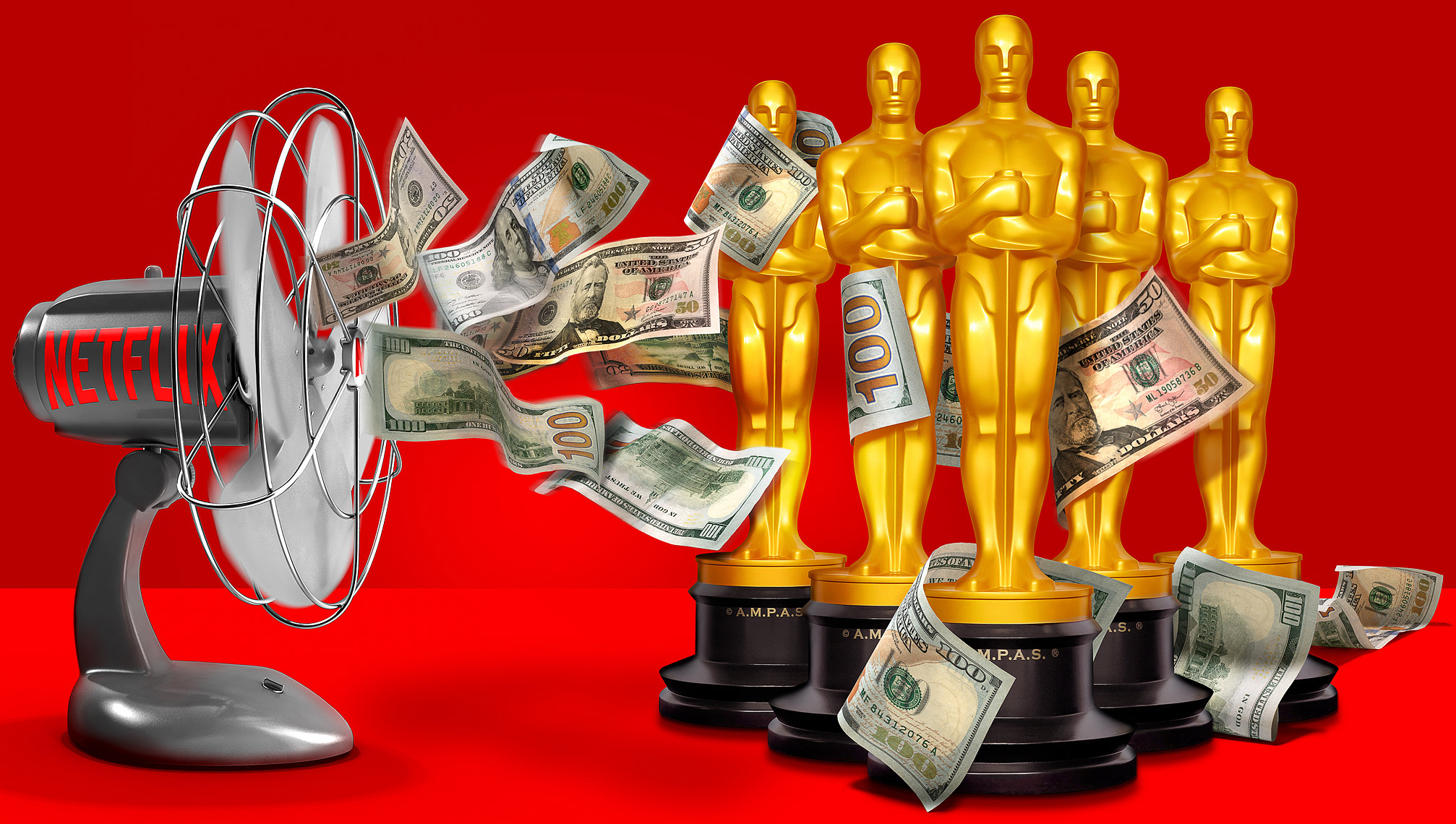 Netflix throws money at Oscar photo-illustration by John Kuczala