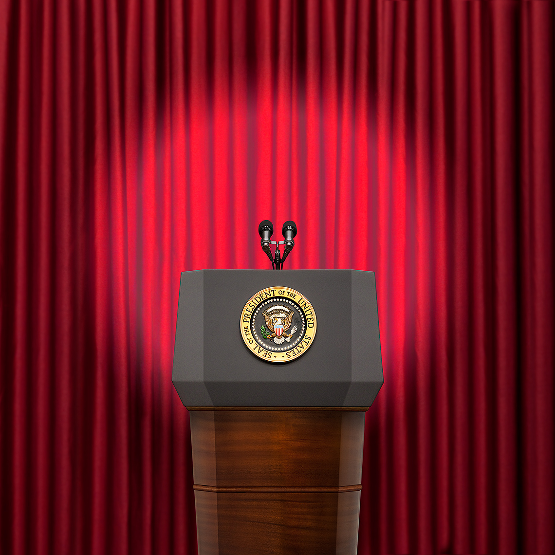 President of the US podium photo-illustration by John Kuczala
